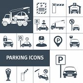 picture of parking lot  - Parking lot facilities black decorative icons set isolated vector illustration - JPG
