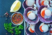 stock photo of scallops  - scallops with oil and salt on the tray - JPG