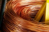 image of copper  - Closeup of Copper Cable being Rolled up in Preparation for Shipment at the Factory - JPG