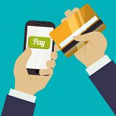 stock photo of electronic banking  - Digital payment design over blue background - JPG