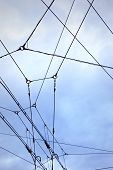 picture of tram  - Electrical cables for the tram in the city - JPG