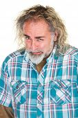 image of disappointed  - Disappointed Caucasian bearded man in flannel shirt - JPG