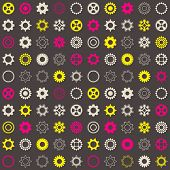 pic of color wheel  - Vector seamless pattern with various colorful gear wheels - JPG