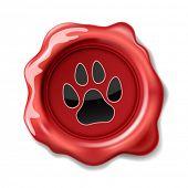 stock photo of wax seal  - Animal Paw Print on the Wax Seal - JPG
