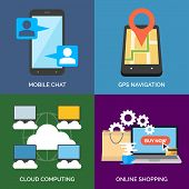 pic of gps navigation  - Set of flat design concept icons for business - JPG