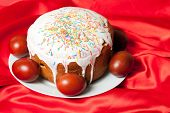 image of no clothes  - Easter cake and painted eggs on red cloth closeup - JPG