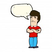 pic of annoying  - cartoon annoyed man with folded arms with speech bubble - JPG
