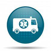 stock photo of ambulance  - ambulance blue glossy web icon  - JPG