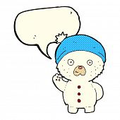 picture of crazy hat  - cartoon waving polar teddy bear in winter hat with speech bubble - JPG