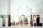 stock photo of masjid  - Word TRAVEL over Famous Jama Masjid Mosque in old Delhi India - JPG