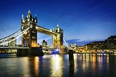 foto of london night  - Famous Tower Bridge by night London England - JPG