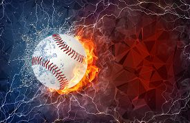 picture of softball  - Softball ball on fire and water with lightening around on abstract polygonal background - JPG