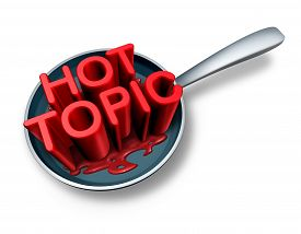 stock photo of blog icon  - Hot topic and breaking news symbol as the word for current social newsflash events in a frying pan as a press headline icon for media communication of things of human interest - JPG