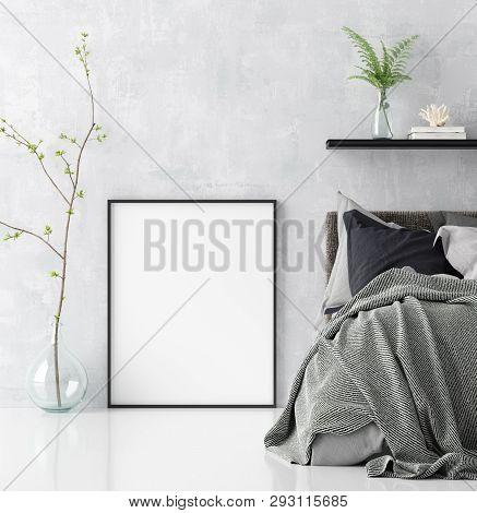 poster of Mock Up Poster In Scandinavian Style Bedroom Interior, 3d Illustration