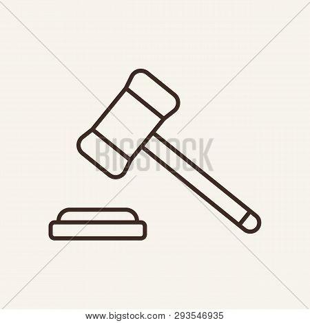 Judge Hammer Line Icon Gavel