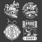 Monochrome Barbershop Emblems Set With Straight Razors Glass Of Whiskey Scissors Barber Chair In Vin poster