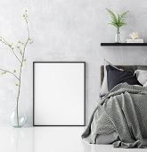 Mock Up Poster In Scandinavian Style Bedroom Interior, 3d Illustration poster