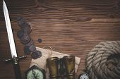 Travel Or Adventure Flat Lay Background With Copy Space. Adventurer Table. Binoculars, Pocket Watch, poster