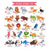 Zoo Alphabet. A-z Animal Alphabet. Vector Poster. poster