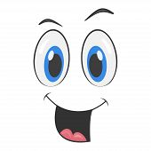 Cartoon Face With A Smiling Expression. Cartoon Emoji Character. Funny Emoticon Face Icon.  Vector I poster