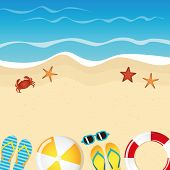 Different Beach Utensils Summer Holiday Background With Flip Flops Sunglasses Crab And Starfish Vect poster