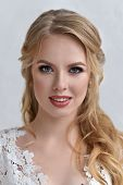 Beautiful Bride With Fashion Wedding Hairstyle - On White Background.closeup Portrait Of Young Gorge poster