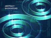 Geometric Circles Sparkle On The Background. 3d Vector Illustration . Futuristic Geometric Backgroun poster
