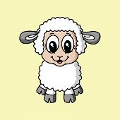 Male Sheep Icon In Trendy Design Style. Male Sheep Icon Isolated On White Background. Male Sheep Vec poster