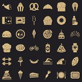 Many Calories Icons Set. Simple Style Of 36 Many Calories Vector Icons For Web For Any Design poster