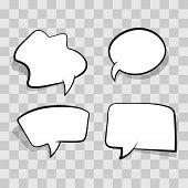 White Comic Speech Bubble Isolated On Transparent Background. Set Empty Speech Bubble, Cloud Comic T poster