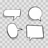 Set White Speech Bubble, Cloud Comic Template On Transparent Background. Empty Comic Speech Bubble I poster
