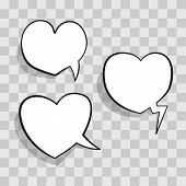 White Speech Bubble In Heart Shape For Chat In Social Networks Or Cloud Comic Template On Transparen poster