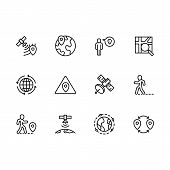 Simple Set Map Pointer, Navigation, Globe, Travel, Location Illustration Line Icon. Contains Such Ic poster