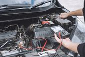Services Car Engine Machine Concept, Automobile Mechanic Repairman Hands Repairing A Car Engine Auto poster