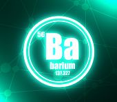 Barium Chemical Element. Sign With Atomic Number And Atomic Weight. Chemical Element Of Periodic Tab poster