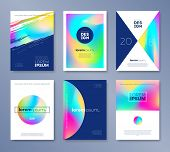 Set Of Cover Design With Abstract Multicolored Shapes. Vector Illustration Template. Universal Abstr poster