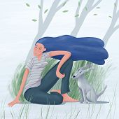 Young Pretty Woman With Long Loose Hair Waving In The Wind Sitting With Her Dog Enjoying Spring Summ poster