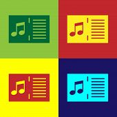 Color Music Book With Note Icon Isolated On Color Backgrounds. Music Sheet With Note Stave. Notebook poster