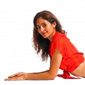 foto of bare midriff  - Gorgeous young woman reclined on the floor - JPG