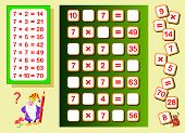 Multiplication Table By 7 For Kids. Find Places For Falling Numbers And Write Them. Educational Page poster