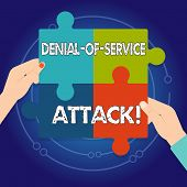 Text Sign Showing Denial Of Service Attack. Conceptual Photo Attack Meant To Shut Down A Machine Or  poster