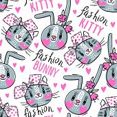 Seamless Pattern With Faces Of Cats And Rabbits In Hairpins Bows. Fashion Kawaii Bunny And Kitty. Ve poster