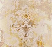 Vector Rococo Pattern Texture. Damask Ornament Grunge Background. Vintage Royal Fabric Rust Effect.  poster