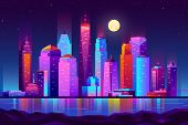 Modern New York City Cartoon Vector Night Landscape. Urban Cityscape Background With Skyscrapers Bui poster