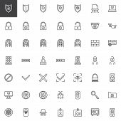 Cyber Security Line Icons Set. Linear Style Symbols Collection, Outline Signs Pack. Vector Graphics. poster