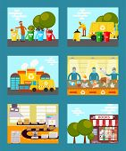 Recycle Garbage, Save Ecology Concept Cards Vector Illustration. People Throwing Trash Into Recycle  poster