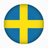 Sweden Flag In Circle Shape, Scandinavian Country. Isolated Swedish Banner With Scratched Texture, G poster