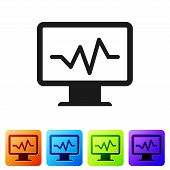 Black Computer Monitor With Cardiogram Icon Isolated On White Background. Monitoring Icon. Ecg Monit poster