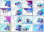 Set Of Landing Page Templates For Online Language Courses, Distance Education, Training. Language Le poster