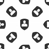 Grey User Protection Icon Isolated Seamless Pattern On White Background. Secure User Login, Password poster
